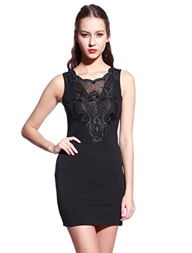 lace paneled bodycon dress - 1
