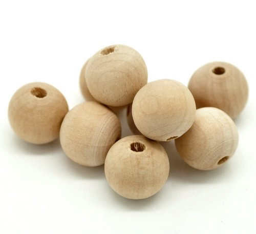 200 Round Unfinished Wood Beads Bulk 13 x 14mm Large Hole Diameter 3.3mm ()