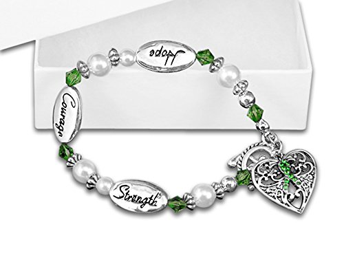 (Cerebral Palsy Awareness Green Ribbon Bracelet (1 Bracelet -)