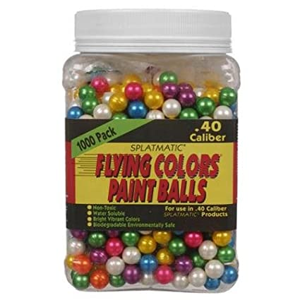 86b8ba451a74 Amazon.com   Splatmatic Flying Colors 1000ct Airsoft Paintballs - 40 ...