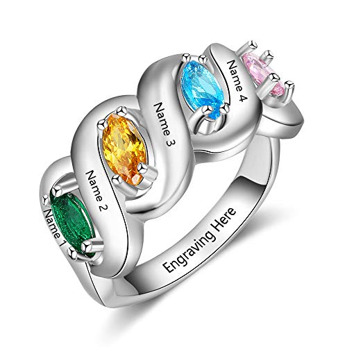 (Ashleymade Personalized Mothers Rings with 4 Simulated Birthstones for Grandmother Mother Family Name Rings (Silver, 7))