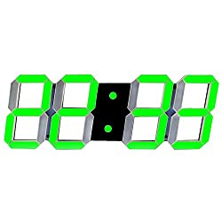 SHSEA Remote Control Jumbo Digital LED Wall Clock Timer with Date, Temperature, Countdown for Living Room Decor(green)
