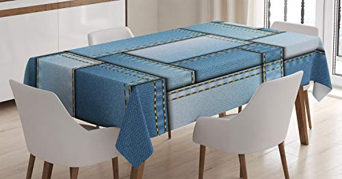 Ambesonne Country Tablecloth, Patchwork of Different Size Blue Toned Shapes Pattern with Vertical Warp Beam Artprint, Rectangular Table Cover for Dining Room Kitchen Decor, 60