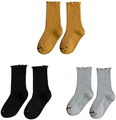 3 PAIRS 6-8 GIRL/'S knee high sock crew School BOOTS socks shoe size 1-3