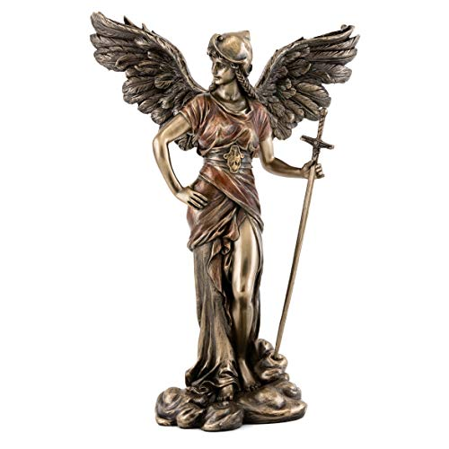 Top Collection Archangel St Gabriel Statue with Sword- Saint of Communication Sculpture in Premium Cold Cast Bronze- 12.25-Inch Collectible Messenger of God Figurine