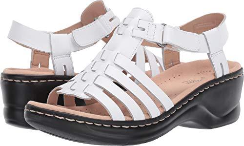 (CLARKS Women's Lexi Bridge Sandal, White Leather, 070 M US)