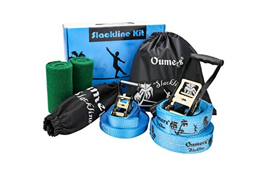 Oumers Beginner Slackline Kit, Slack Line Gift Set with 50ft Main Blance line Training Line Tree Protector Ratchet Cover Carry Bag for Kids Adults by Oumers