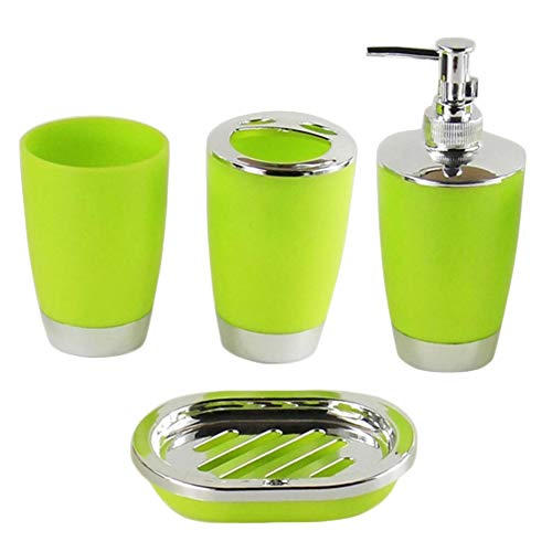 (Cup Toothbrush Holder - 4 Pcs Set Bathroom Suit Plastic Shampoo Press Bottle Wash Gargle Cup Toothbrush Holder Soap Dish - Blue Cream Holder Toothbrush Accessories Brown Mirror Ivory Brass )