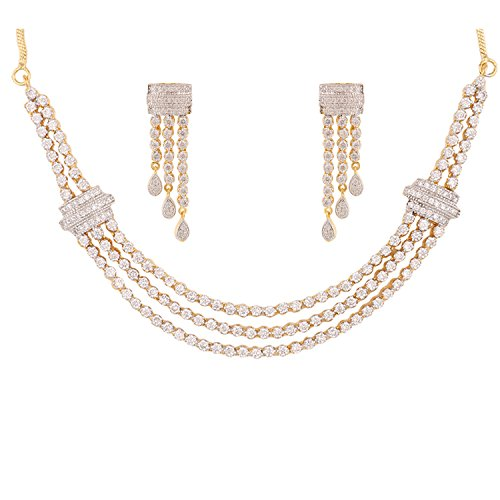Swasti Jewels Zircon CZ Traditional Fashion Jewelry Classic Set Necklace Earrings for Women by Swasti Jewels