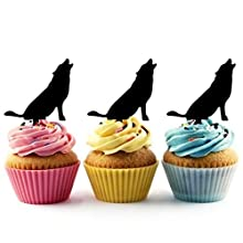 Wolf Silhouette Acrylic Cupcake Toppers 12 pcs