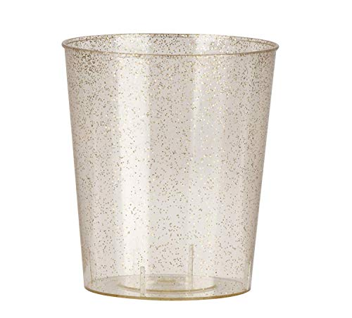 Mini Plastic Shot Cups - 100-Pack Clear with Gold Glitter 2-Ounce Disposable Reusable Shooter Drinking Cups, Elegant Tasting Sampling, Birthday, Wedding, Bridal Shower Party Supplies, 1.7 x 2 Inches