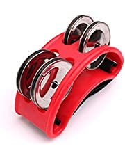 Foot Tambourine Percussion, Double-row Steel Bell Accessory with Durable Elastic Nylon Strap (Red)