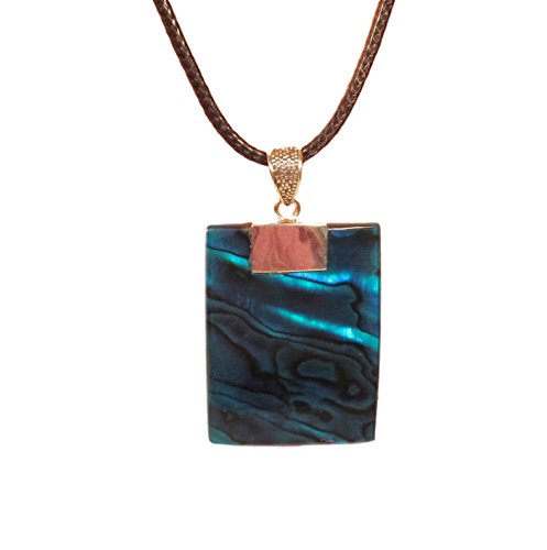Blue Green Abalone Shell 925 Sterling Silver Rectangle Pendant Necklace Bali Bay Trading Co
