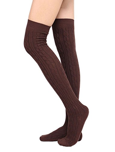 Womens Winter Cable Knit Over Knee High Tigh High Socks Uniform Socks from Toppers