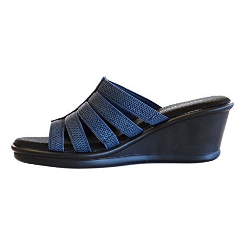 Sandals On Dumas Pierre Navy 1 Women's Maureen Slip Strappy Wedge blue awfS8H