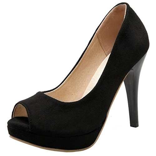 Black Mujer Bombas Toe Zapatos Peep Coolcept xUpqSXX