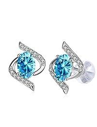 """Earrings,J.Rosée 925 Sterling Silver Blue Cubic Zirconia Stud Earrings Fine Woman Jewelry""""The Eye of Lover"""""""