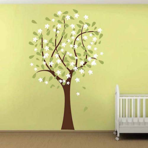 Diuangfoong Happy Nursery Tree Wall Decal Wallpaper Floral Plant Life Removable Design