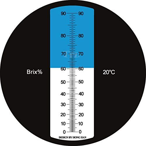 HHTEC Refractómetro 0 - 90% Brix, refractómetro Manual para determinar el Contenido de azúcar de Aceite Vegetal de Miel, Jarabe de melaza con función ATC e ...