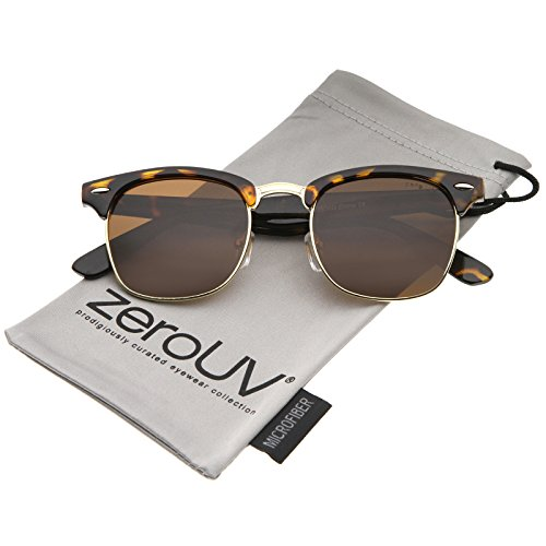zeroUV - Polarized Lens Classic Half Frame Horn Rimmed Sunglasses 50mm (Tortoise-Gold / Brown Polarized) (Half Frame Sunglasses Wayfarer)