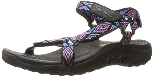 Flat Sandal Multi Out Reggae Black Women's Skechers Decked nwaqIxfFO