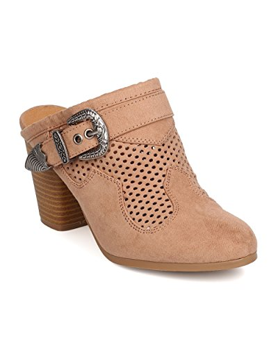 Qupid Women Faux Suede Perforated Buckled Chunky Heel Mule FD91 - Taupe (Size: 7.5) by Qupid