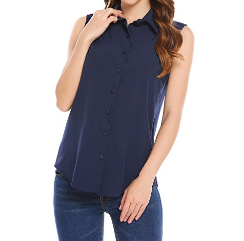 a48957fb Soteer Women's Sleeveless Button Down Shirt Tops Solid Casual Loose Blouse