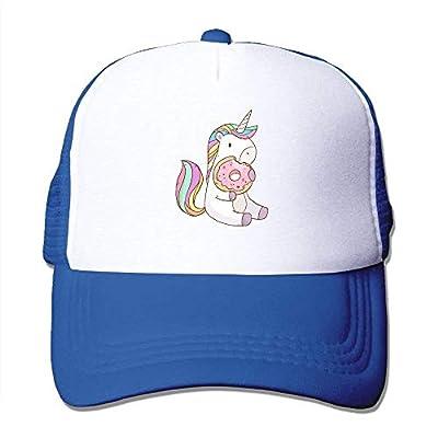 Cartoon Unicorn Eating Tasty Donuts Adjustable Printing Snapback Mesh Hat Unisex Adult Baseball Mesh Cap by Shower Curtain pillow