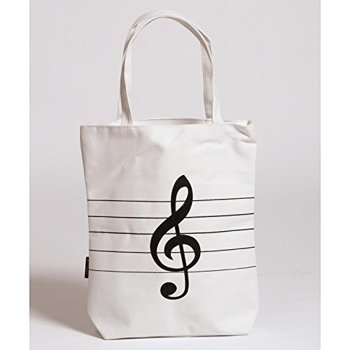 JSI White Canvas Tote Bag with Treble Clef Design