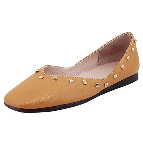 Taompen Comfortabele Slip Voor Dames Op Platte Schoenen Geel-95