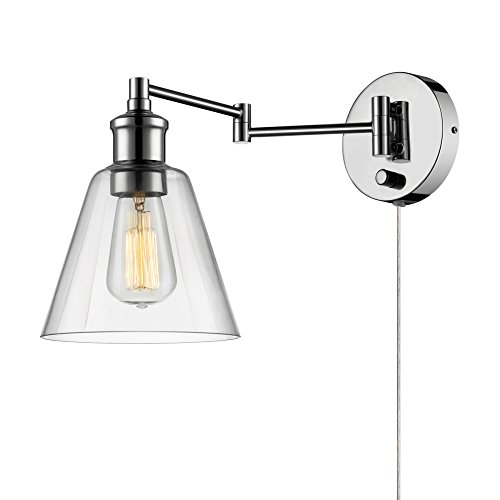 Globe Electric Leclair 1 Light Plug In Or Hardwire Industrial Wall Sconce  Chrome Finish  On Off Rotary Switch  6 Foot Clear Cord  Clear Glass Shade  65704