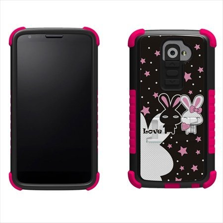 Beyond Cell High Impact Hybrid Hard and Soft Tough Armor Rugged Case with 3 Layers of Protection and built-In Kickstand for Smartphones - Retail Packaging - Black/Pink