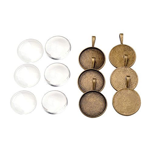Ab Glass Necklace (Pandahall 10 Sets 25mm Transparent Clear Domed Magnifying Glass Cabochon Cover Blank Tray for Photo Portrait Pendant Necklace Making Brass Pendant Cabochon Settings Antique Bronze TIBEP-X0008-AB-FF)
