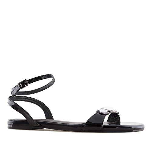 Andres Machado AM5235 Patent Gem Flat Sandals.Large Sizes:UK 8 to 10.5/EU 42 to 45. Black Patent uiT54WF