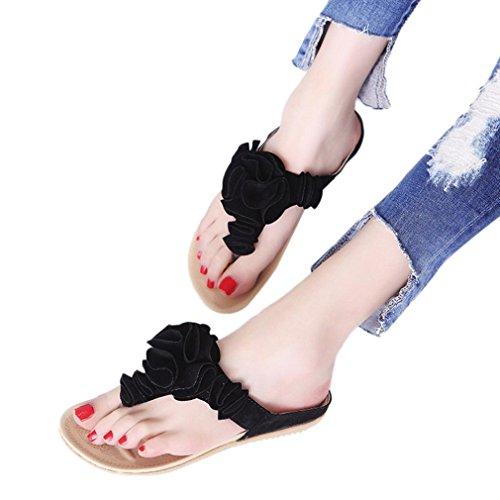 Women Casual Sandals,Todaies Women's Summer Beach Flip Flops Casual Flat Shoes Lady Pretty Floral Sandals (US:6.5, Black) ()
