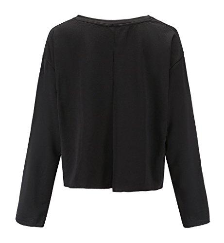 Jumpers Col Pulls Sweat Automne Shirts T Casual Pullover Manches Shirts Noir Rond Couleur Court Femmes Hauts Fashion et Printemps Blouses Chemisiers Longues Tops Unie x0wqUU