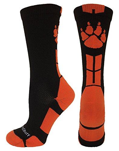 Wild Paws Crew Socks (Black/Orange, Medium)