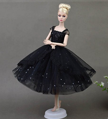 Elegant Lady little Black Dress Everning Dress Costume Clothes Party For Barbie Doll best gift for (Barbie Doll Costume For Kids)
