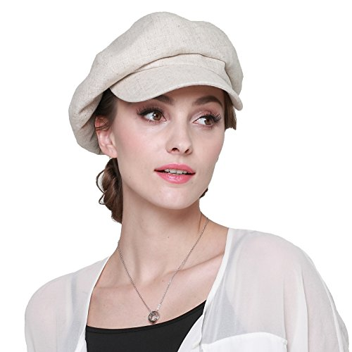 LAI MENG FIVE CATS Womens Cotton Linen Newsboy Cabbie Cap Painter Cop Hats Painter Visor Hats Summer