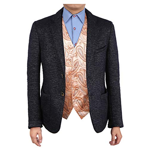 Epoint EGC1B07D-S Antique White Brown Patterned Luxury For Business Waistcoat Woven Microfiber Leadership Vest Small Vest