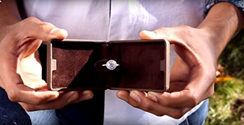 Noble Flat and Slim Pop-the-Question Jewelry Engagement Ring Box with Secret Surprise Elements (Deep Charcoal Black) by Noble (Image #5)