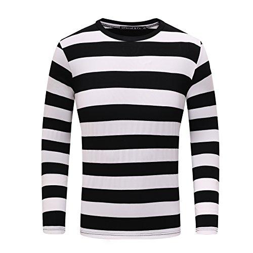 OThread & Co. Men's Long Sleeve Striped T-Shirt Basic Crew Neck Shirts (X-Large, Black&White)