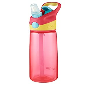 Contigo Autospout StrawStriker Kids Water Bottle, 14-Ounce, Cherry Blossom
