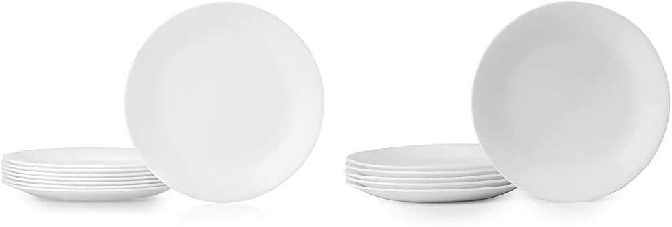 Corelle Dinner Plates, 8-Piece, Winter Frost White & Winter Frost White Lunch Plates Set (8-1/2-Inch, 6-Piece, White)