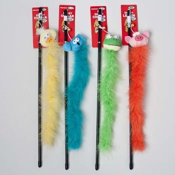 CAT TOY WAND W/BELL 4 ASSORTED ANIMAL DESIGNS IN PDQ, Case Pack of 144