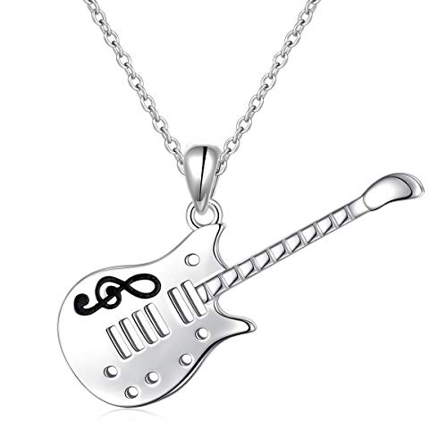 SILVER MOUNTAIN 925 Sterling Silver Music Note Musical Instrument Guitar Pendant Necklace for Women Girls Music Lover Birthday Gift (Guitar Pendant Necklace) -