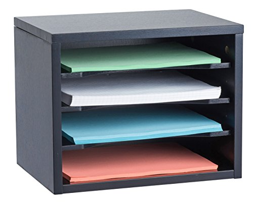 (AdirOffice Wood Desk Organizer Workspace Organizers - Removable Shelves - Curved Edges - 11x14x9.8