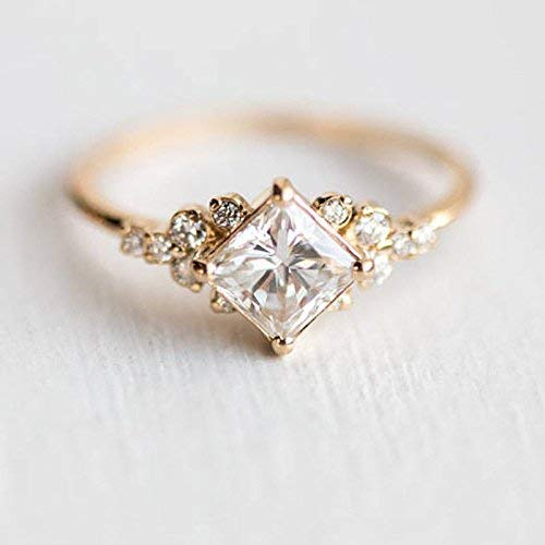 Duan Tiny Crystal Ring Gold Color Ring Dazzling Princess Cut White Sapphire 18K Rose Gold Ring Wedding Jewelry Sz 6-10 (US Code 9)