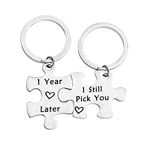Zuo Bao Anniversary Gifts 1,5,10,20 Years Later I Still Pick You Key Ring Stainless Steel Jigsaw Puzzle Piece Matching Pendant Keychain Set Couple Jewelry (1 Year Later I Still Pick You) (Gift Five Anniversary Year)