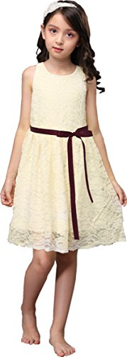 Shop Ginger Wedding Ivory Flower Girl Dress Lace Bow Sash Children Communion D6 (4T, Wine Ribbon) -
